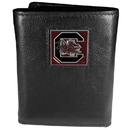 Siskiyou Buckle CTR63 S. Carolina Gamecocks Deluxe Leather Tri-fold Wallet Packaged in Gift Box