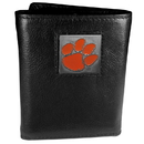 Siskiyou Buckle CTR69 Clemson Tigers Deluxe Leather Tri-fold Wallet Packaged in Gift Box