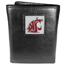Siskiyou Buckle CTR71 Washington St. Cougars Deluxe Leather Tri-fold Wallet Packaged in Gift Box