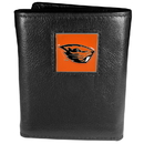 Siskiyou Buckle CTR72 Oregon St. Beavers Deluxe Leather Tri-fold Wallet Packaged in Gift Box