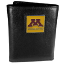 Siskiyou Buckle CTR77 Minnesota Golden Gophers Deluxe Leather Tri-fold Wallet Packaged in Gift Box