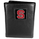 Siskiyou Buckle CTR79 N. Carolina St. Wolfpack Deluxe Leather Tri-fold Wallet Packaged in Gift Box