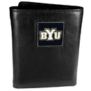 Siskiyou Buckle CTR86 BYU Cougars Deluxe Leather Tri-fold Wallet Packaged in Gift Box