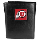 Siskiyou Buckle CTR89 Utah Utes Deluxe Leather Tri-fold Wallet Packaged in Gift Box