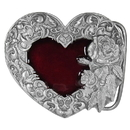 Siskiyou Buckle E2E Western Heart/Rose - Enameled Belt Buckle