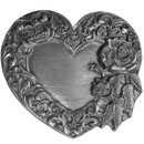 Siskiyou Buckle E2 Rose and Heart Antiqued Belt Buckle