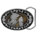 Siskiyou Buckle E4000E Indian with Headdress Enameled Belt Buckle