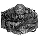 Siskiyou Buckle E44 W. Virginia Antiqued Belt Buckle