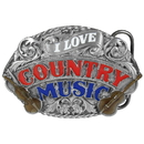 Siskiyou Buckle E80E I Love Country Music Enameled Belt Buckle