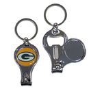 Siskiyou Buckle F3KC115 Green Bay Packers Nail Care/Bottle Opener Key Chain