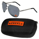Siskiyou Buckle Cincinnati Bengals Aviator Sunglasses and Zippered Carrying Case, FASG010HC