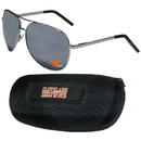 Siskiyou Buckle Cleveland Browns Aviator Sunglasses and Zippered Carrying Case, FASG025HC
