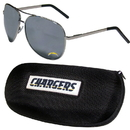 Siskiyou Buckle Los Angeles Chargers Aviator Sunglasses and Zippered Carrying Case, FASG040HC