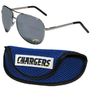 Siskiyou Buckle Los Angeles Chargers Aviator Sunglasses and Sports Case, FASG040SC