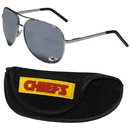 Siskiyou Buckle Kansas City Chiefs Aviator Sunglasses and Sports Case, FASG045SC