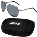Siskiyou Buckle New York Jets Aviator Sunglasses and Zippered Carrying Case, FASG100HC