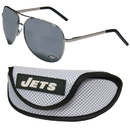Siskiyou Buckle New York Jets Aviator Sunglasses and Sports Case, FASG100SC