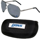 Siskiyou Buckle Detroit Lions Aviator Sunglasses and Zippered Carrying Case, FASG105HC