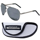 Siskiyou Buckle Seattle Seahawks Aviator Sunglasses and Sports Case, FASG155SC