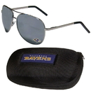 Siskiyou Buckle Baltimore Ravens Aviator Sunglasses and Zippered Carrying Case, FASG180HC