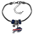 Siskiyou Buckle Buffalo Bills Euro Bead Bracelet, FBBR015