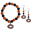 Siskiyou Buckle Chicago Bears Fan Bead Earrings and Bracelet Set, FBDE005BB
