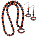 Siskiyou Buckle Chicago Bears Fan Bead Earrings and Necklace Set, FBDE005FBN