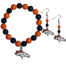 Siskiyou Buckle Denver Broncos Fan Bead Earrings and Bracelet Set, FBDE020BB
