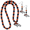 Siskiyou Buckle Denver Broncos Fan Bead Earrings and Necklace Set, FBDE020FBN