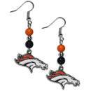 Siskiyou Buckle FBDE020 Denver Broncos Fan Bead Dangle Earrings