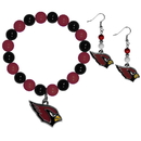 Siskiyou Buckle Arizona Cardinals Fan Bead Earrings and Bracelet Set, FBDE035BB