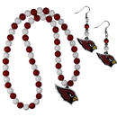 Siskiyou Buckle Arizona Cardinals Fan Bead Earrings and Necklace Set, FBDE035FBN