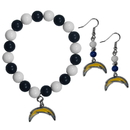Siskiyou Buckle Los Angeles Chargers Fan Bead Earrings and Bracelet Set, FBDE040BB