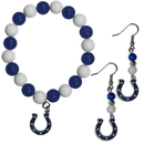 Siskiyou Buckle Indianapolis Colts Fan Bead Earrings and Bracelet Set, FBDE050BB