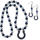 Siskiyou Buckle Indianapolis Colts Fan Bead Earrings and Necklace Set, FBDE050FBN