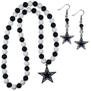 Siskiyou Buckle Dallas Cowboys Fan Bead Earrings and Necklace Set, FBDE055FBN