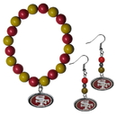 Siskiyou Buckle San Francisco 49ers Fan Bead Earrings and Bracelet Set, FBDE075BB