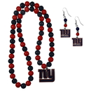 Siskiyou Buckle New York Giants Fan Bead Earrings and Necklace Set, FBDE090FBN