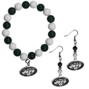 Siskiyou Buckle New York Jets Fan Bead Earrings and Bracelet Set, FBDE100BB