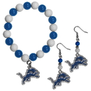 Siskiyou Buckle Detroit Lions Fan Bead Earrings and Bracelet Set, FBDE105BB