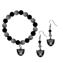 Siskiyou Buckle Oakland Raiders Fan Bead Earrings and Bracelet Set, FBDE125BB