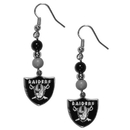 Siskiyou Buckle FBDE125 Oakland Raiders Fan Bead Dangle Earrings