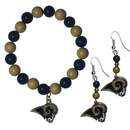 Siskiyou Buckle Los Angeles Rams Fan Bead Earrings and Bracelet Set, FBDE130BB