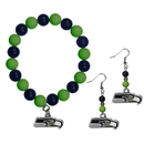 Siskiyou Buckle Seattle Seahawks Fan Bead Earrings and Bracelet Set, FBDE155BB