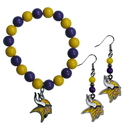 Siskiyou Buckle Minnesota Vikings Fan Bead Earrings and Bracelet Set, FBDE165BB