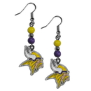 Siskiyou Buckle FBDE165 Minnesota Vikings Fan Bead Dangle Earrings