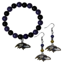 Siskiyou Buckle Baltimore Ravens Fan Bead Earrings and Bracelet Set, FBDE180BB