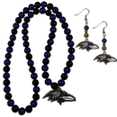 Siskiyou Buckle Baltimore Ravens Fan Bead Earrings and Necklace Set, FBDE180FBN