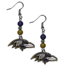 Siskiyou Buckle FBDE180 Baltimore Ravens Fan Bead Dangle Earrings