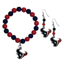 Siskiyou Buckle Houston Texans Fan Bead Earrings and Bracelet Set, FBDE190BB
